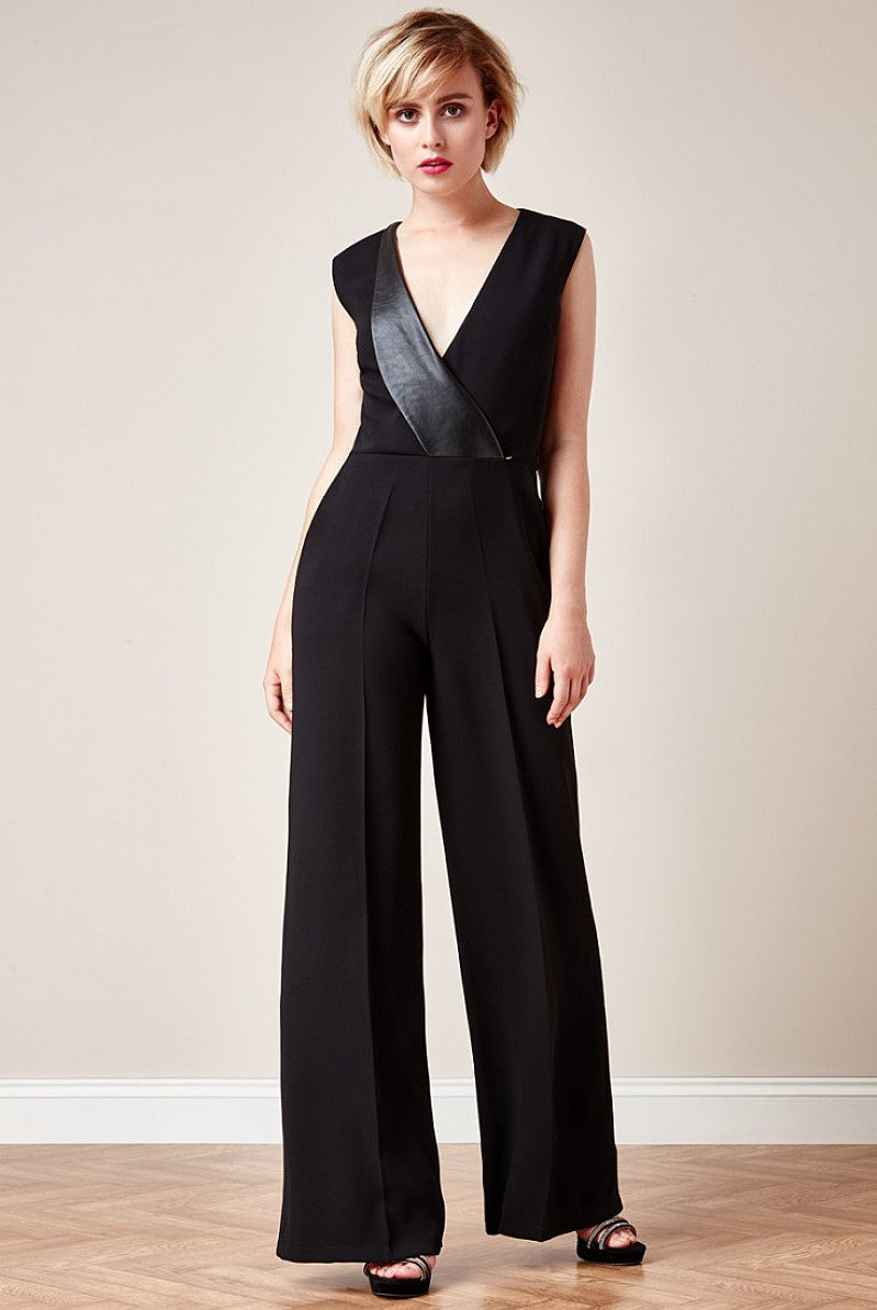 SAVE OVER 80% on this V Neck Tailored Jumpsuit with side pockets- Black!