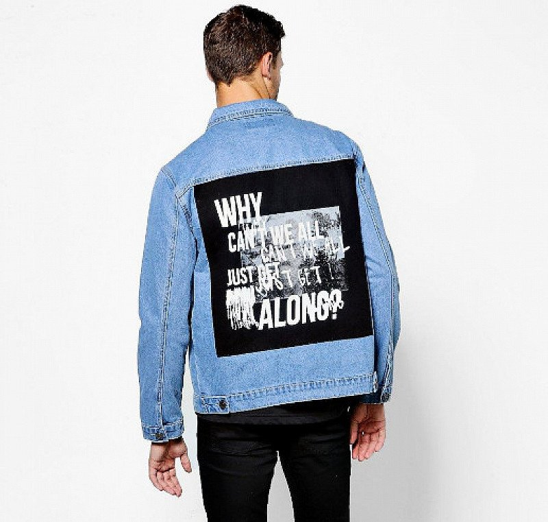 £15 OFF this Mid Blue Denim Jacket With Photo Back Print!