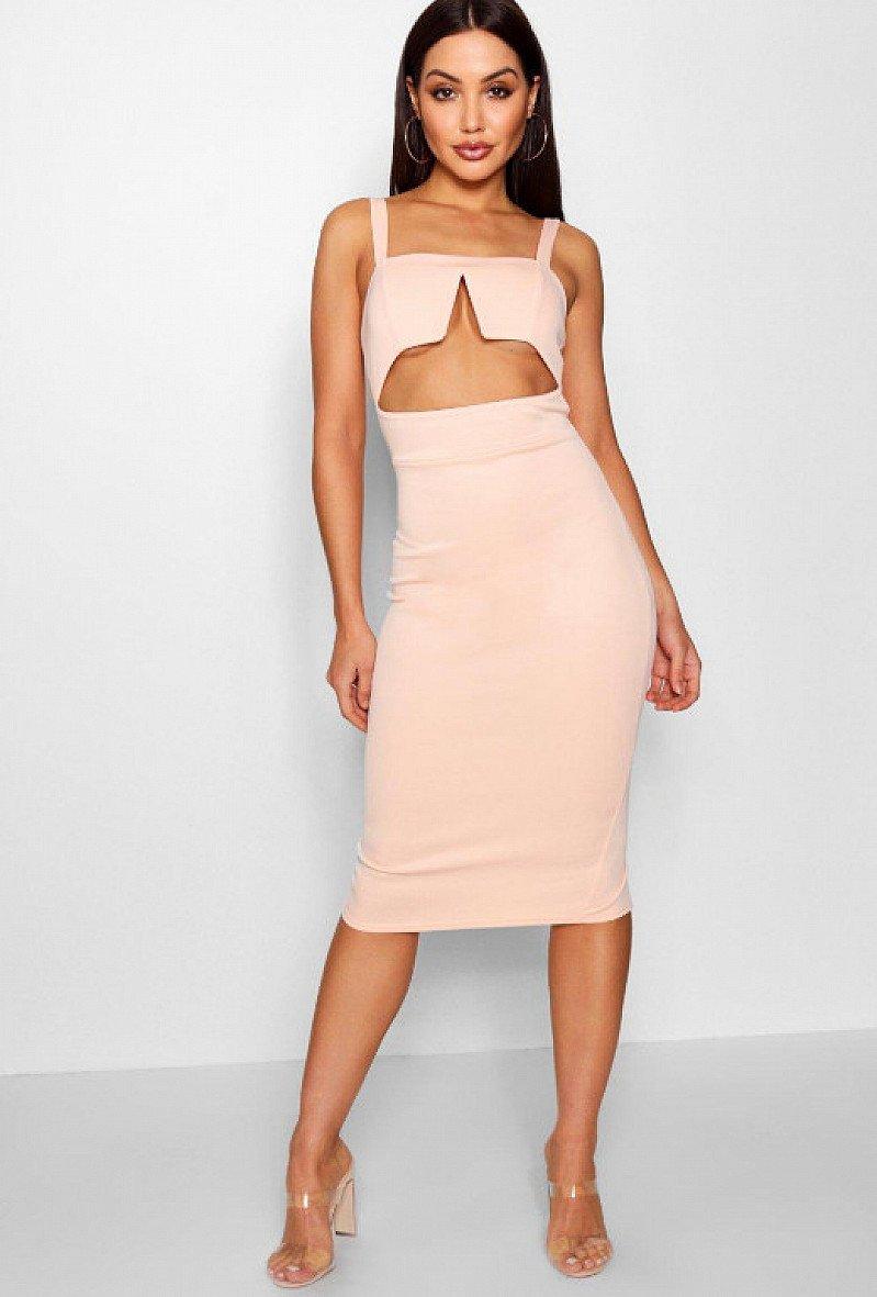 44% OFF this Eva Square Neck Strappy Cut Out Midi Dress!