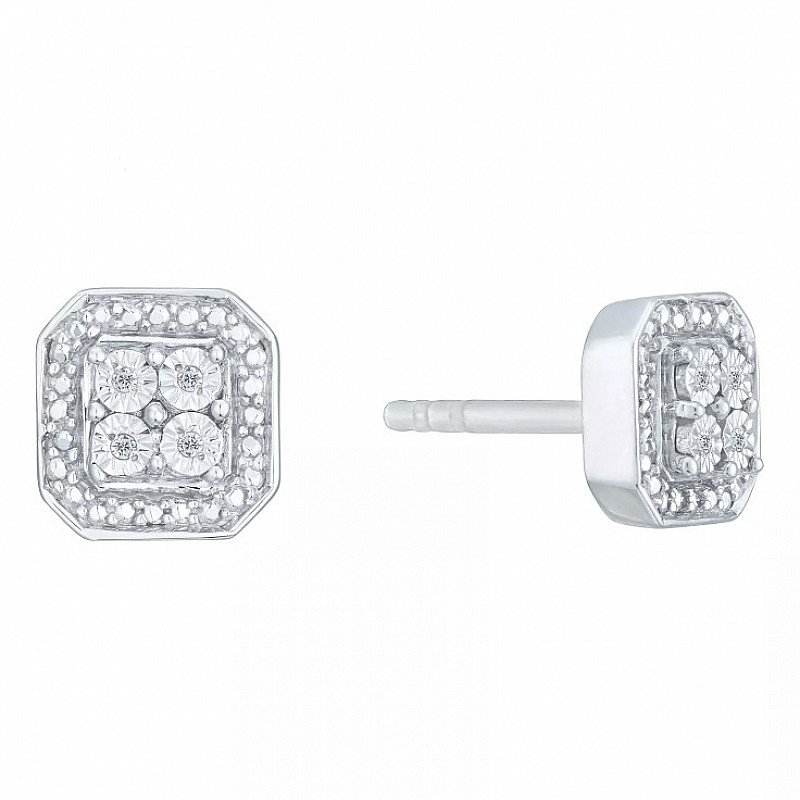 SAVE £89 on these Sterling Silver & Diamond Square Cluster Earrings!