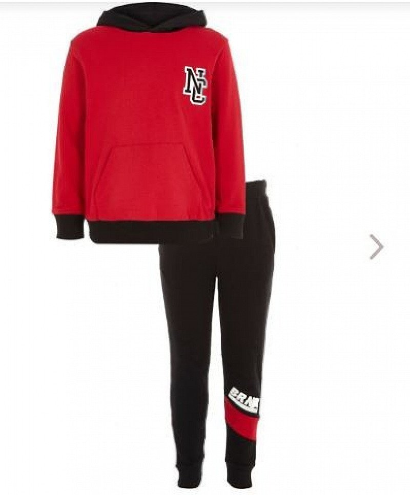 SAVE 50% on this Boys red and navy hoodie joggers outfit!
