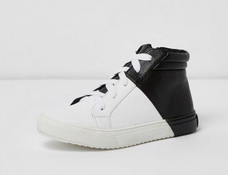 SAVE 44% OFF These Boys White and Black High Top Trainers!
