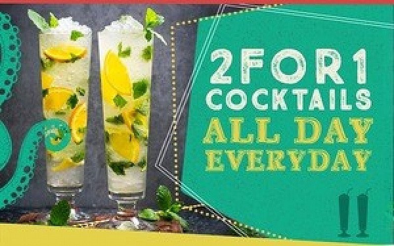 2 for 1 Cocktails & Coolers ALL DAY!!
