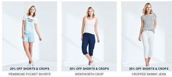 SAVE 20% Off Women's Shorts and Crops!