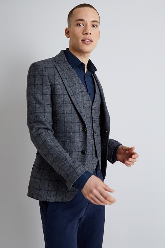 SAVE over 50% off Moss London Skinny Fit Grey with Navy Windowpane Jacket!