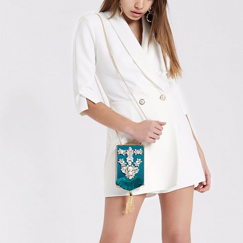 SAVE 56% OFF Green jewel embellished box shoulder bag!