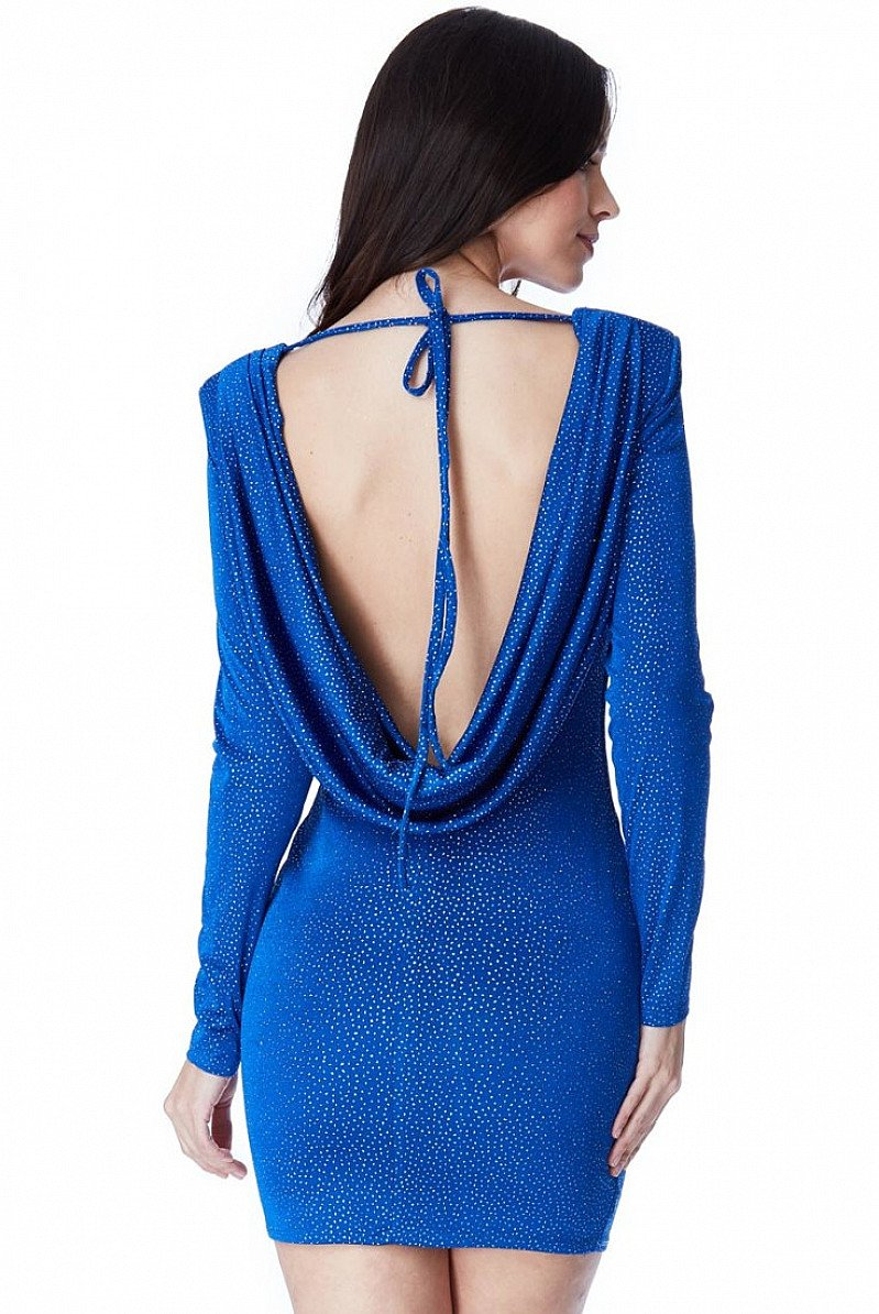 SAVE 80% OFF Glitter Cowl Back Mini Dress with Sleeves!