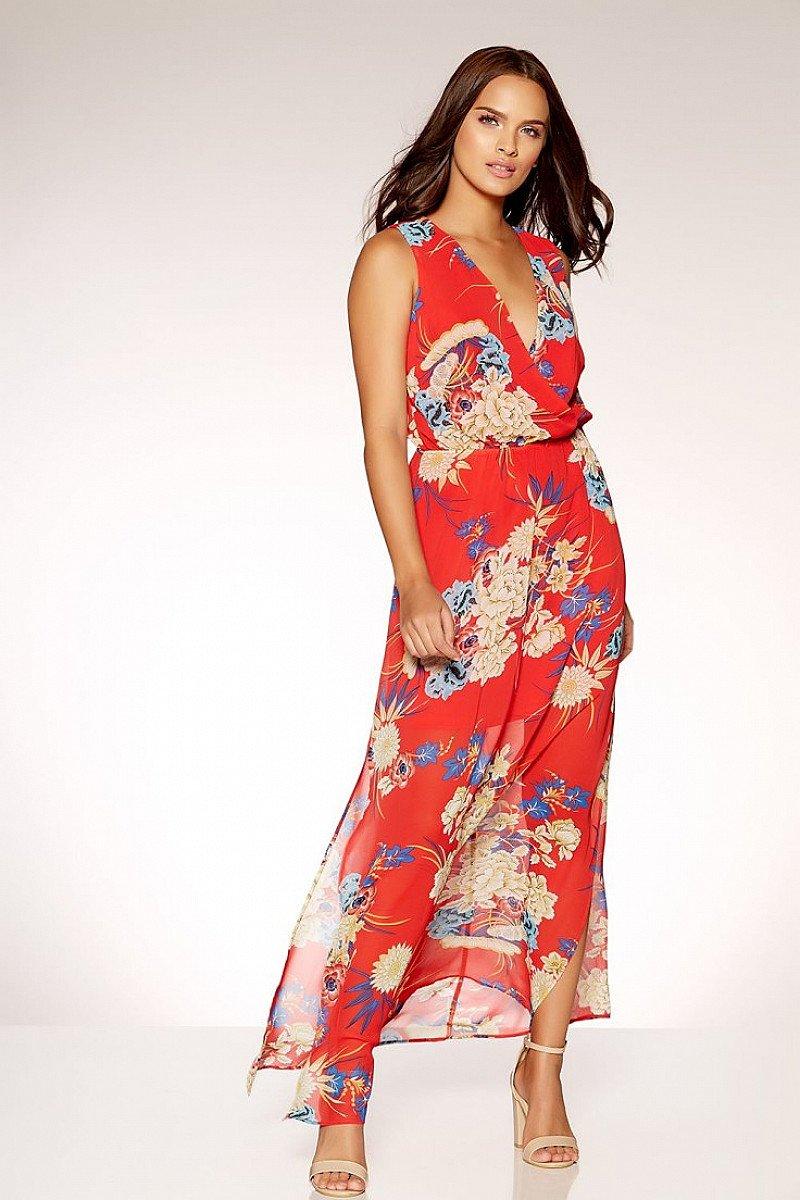 SAVE 50% OFF Red Chiffon Oriental Print Maxi Dress!