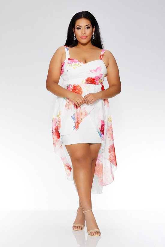 SAVE 25% OFF Curve Cream Floral Dip Hem Dress!