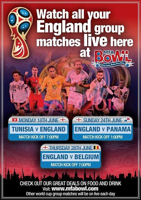 We will be showing all the world cup matches... especially the England matches!