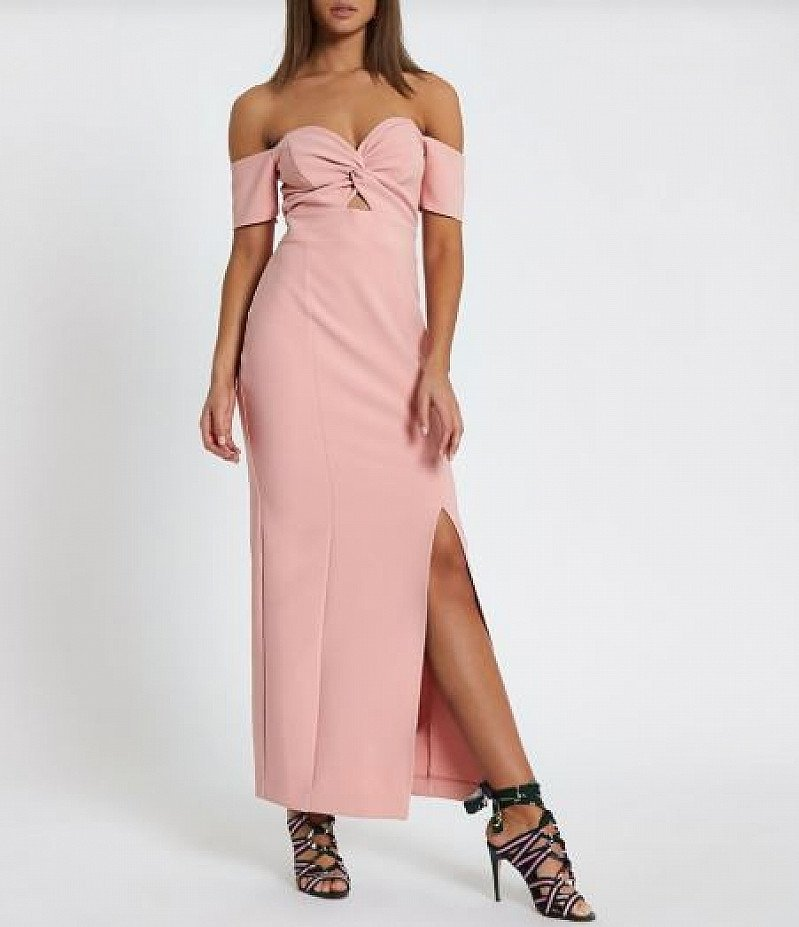 SAVE 58% OFF Pink knot front bardot maxi dress!