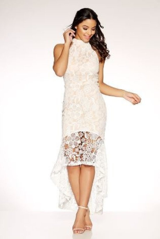 SAVE 27% OFF Cream And Nude Crochet High Neck Dress!