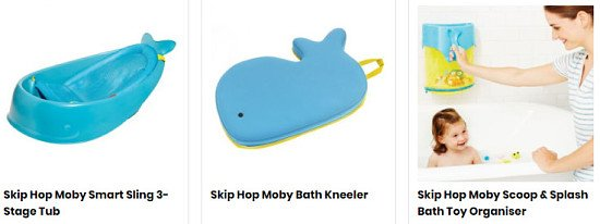 SAVE up to 25% on the Skip Hop Moby bath range!