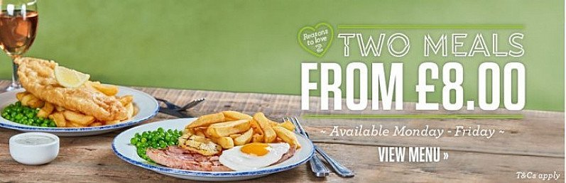 2 MEALS FOR £8 ENJOY TODAY!