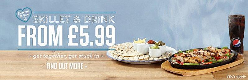 Get together and get stuck in Skillet & Drink - £5.99!