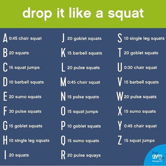 Spell out your name and complete the random workout, aim for 3 rounds to get a good burn!