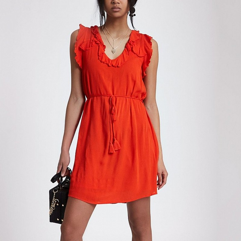 SAVE OVER 35% OFF Red lace-up back frill mini swing dress!