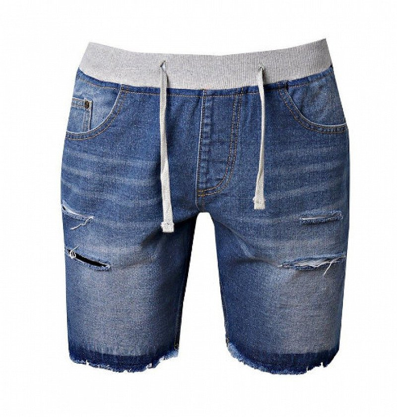 60% OFF - Mens Slim Fit Denim Shorts With Jersey Waistband!