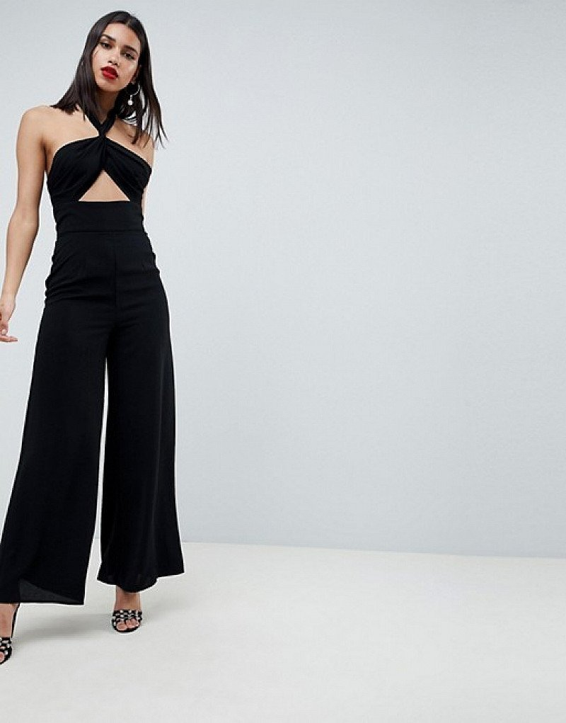 1/2 PRICE - ASOS DESIGN Cross Front Jumpsuit With Twist Neck And Wide Leg!