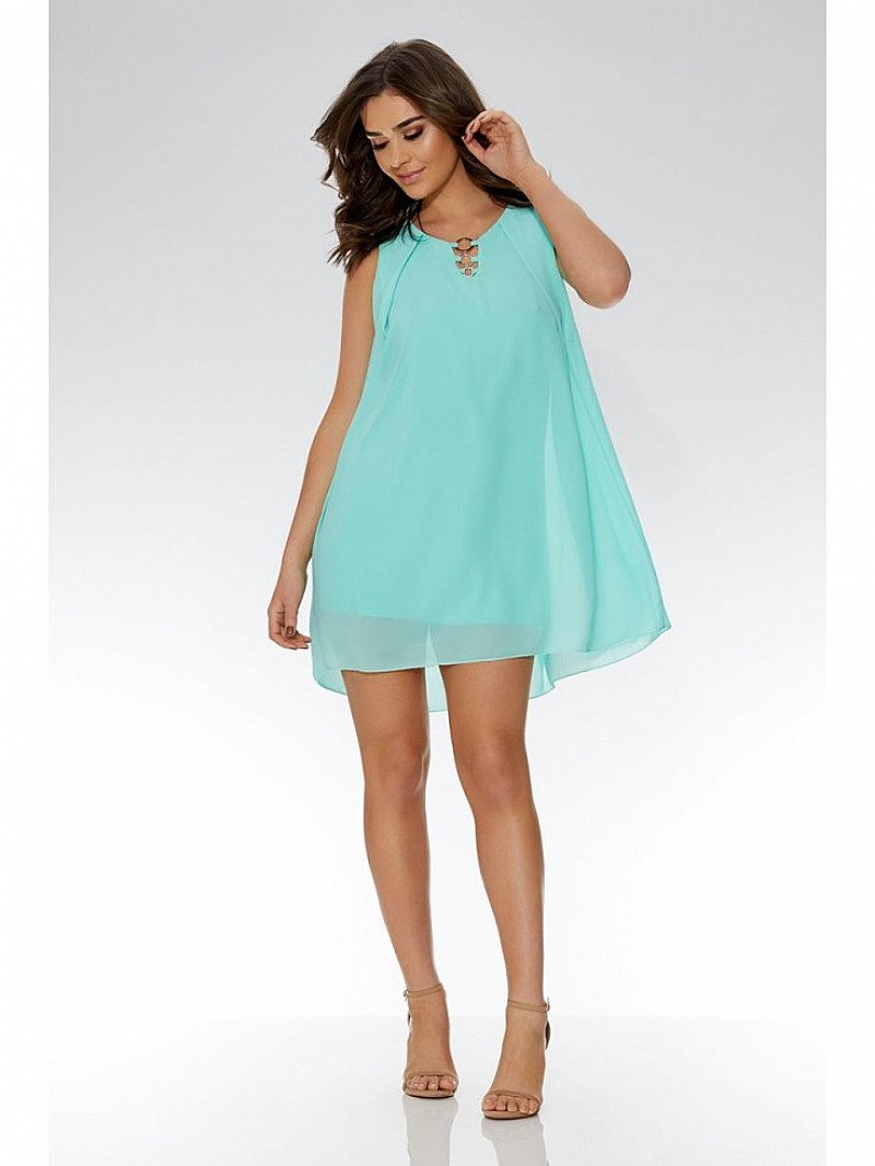 SAVE 40% Aqua Chiffon Sleeveless Tunic Dress!