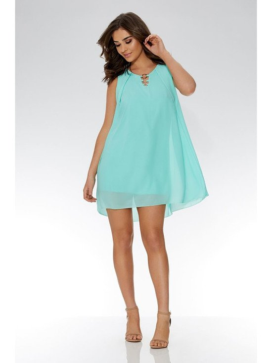 SAVE 40% Aqua Chiffon Sleeveless Tunic Dress!