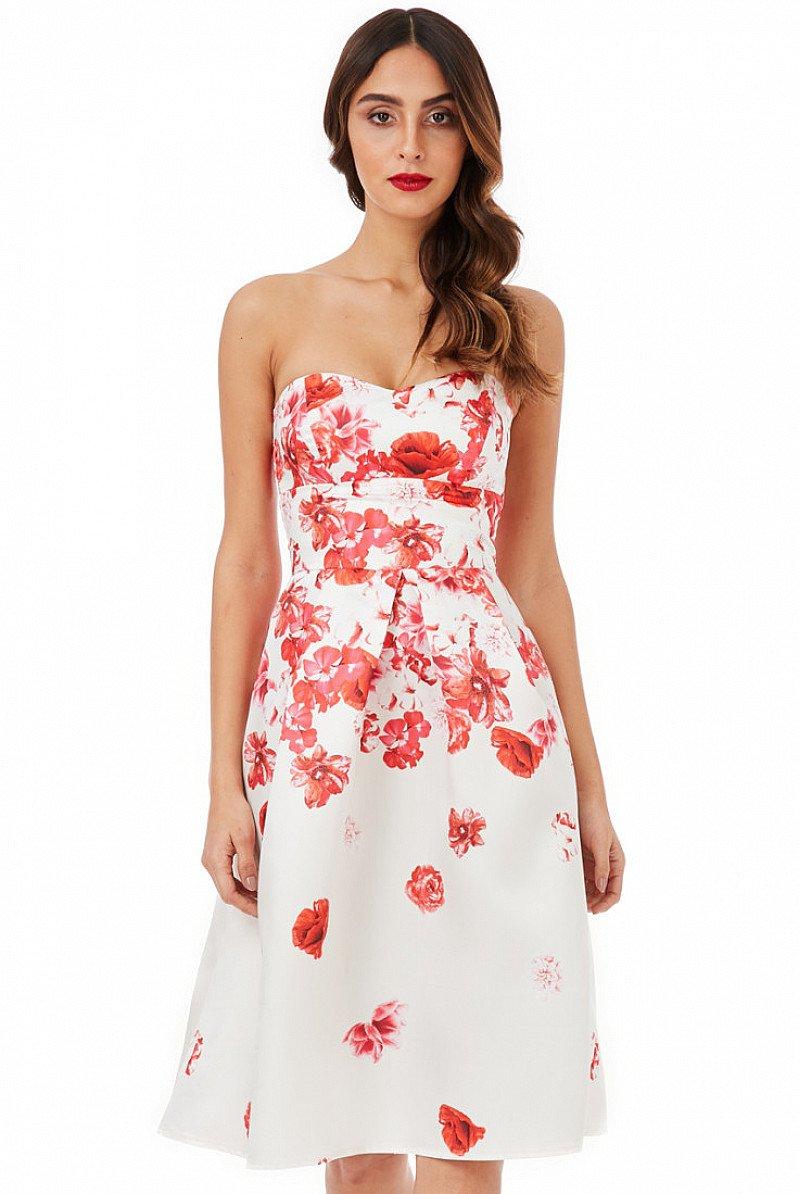 SAVE 34% OFF Cascading Floral Print Midi Dress - Cream!