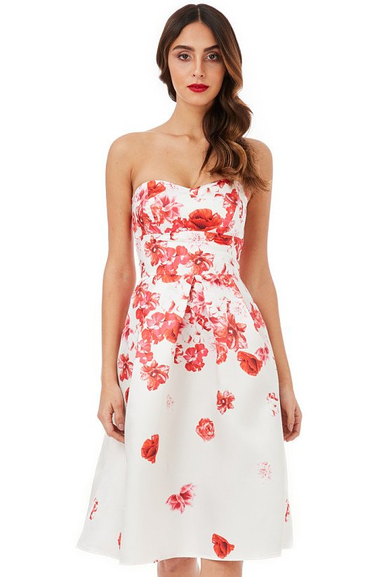SAVE 34% OFF Cascading Floral Print Midi Dress - Cream!