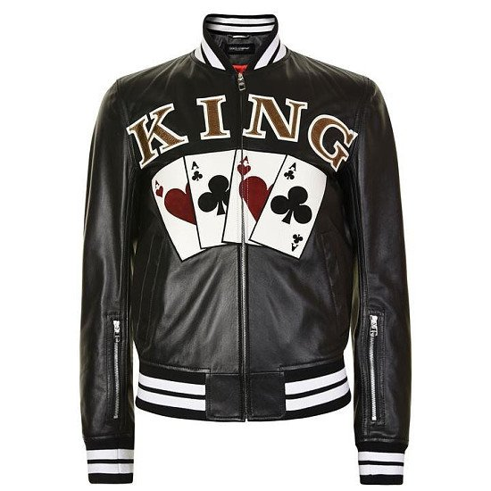 50% OFF - DOLCE AND GABBANA King Ace Leather Bomber Jacket - SAVE £1450!