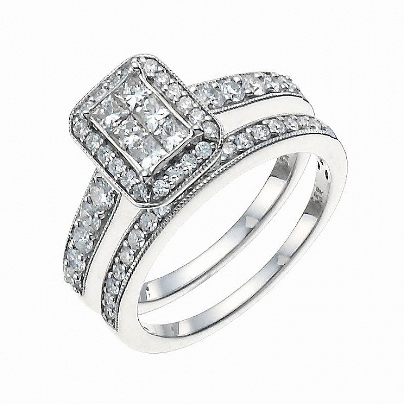 SAVE £1200 on this 9ct White Gold 1ct Diamond Perfect Fit Bridal Set!