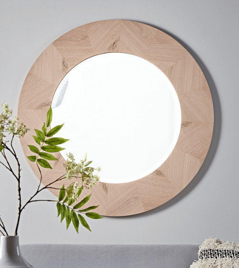 50% OFF - Chevron Oak Round Mirror!