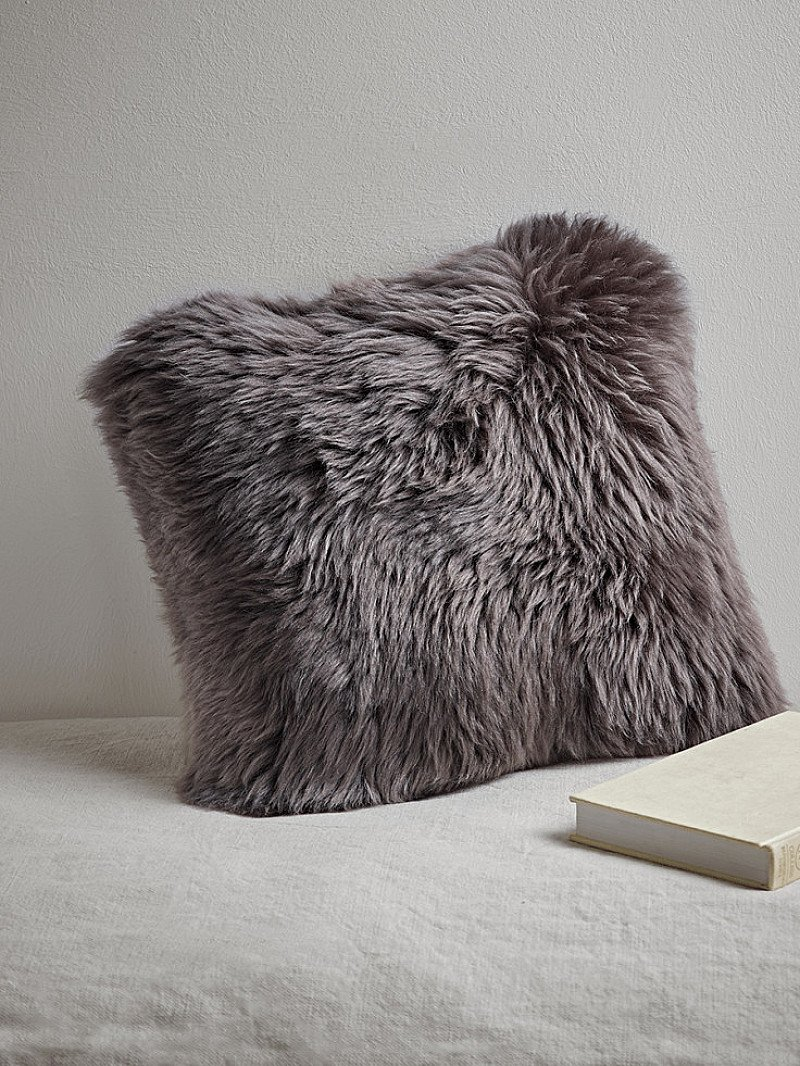 50% OFF Sumptuous Sheepskin & Suede Cushion - Mink!