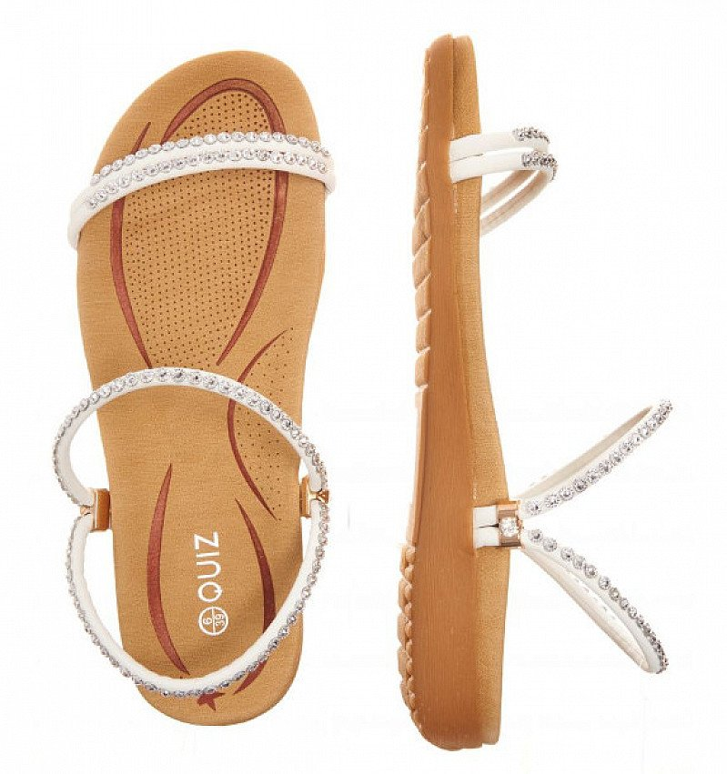 SAVE OVER 1/3 on White Diamante Strap Flat Sandals!