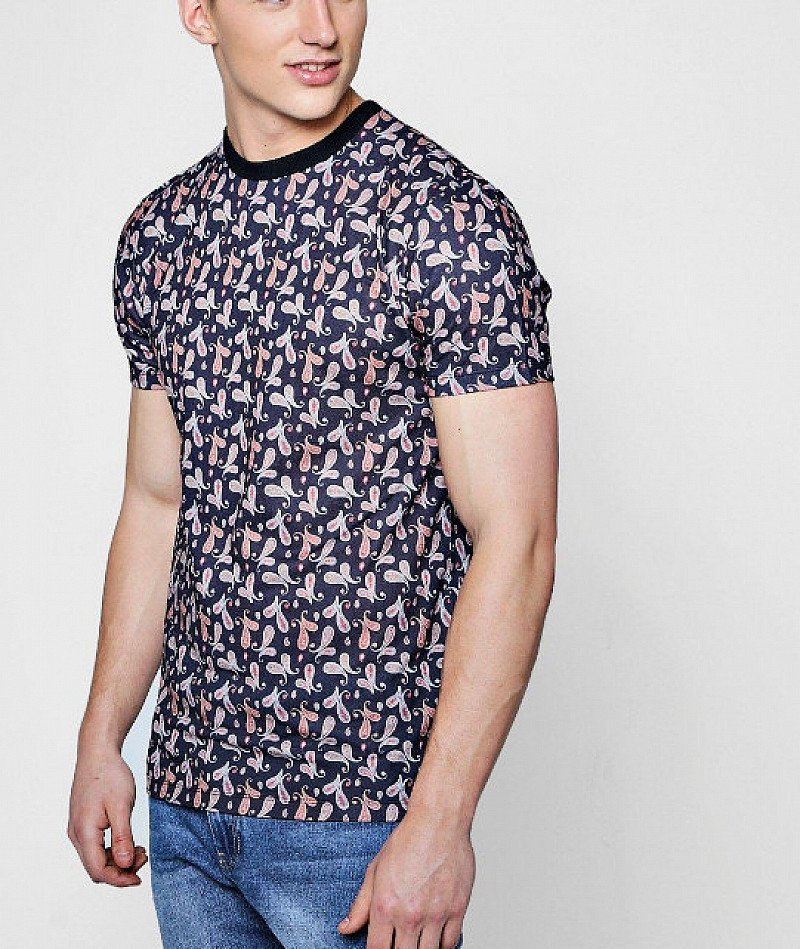 OVER 65% OFF - Men's All Over Print T-Shirt With Rib Neck!