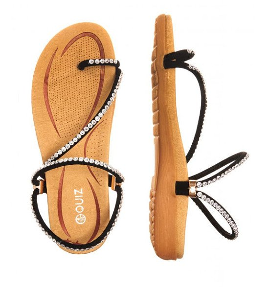 35% OFF - Diamante Slant Strap Flat Sandals!