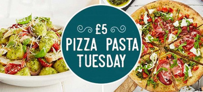 £5 PIZZA or PASTA Tuesdays - from 12pm!