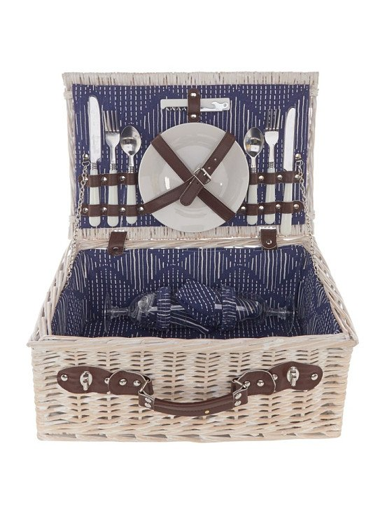 SAVE 40% on this Recharge Blue Trellis 2-person Hamper!