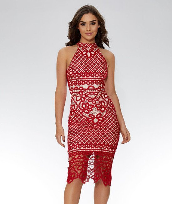 30% OFF this Red And Nude Crochet Midi Dress!