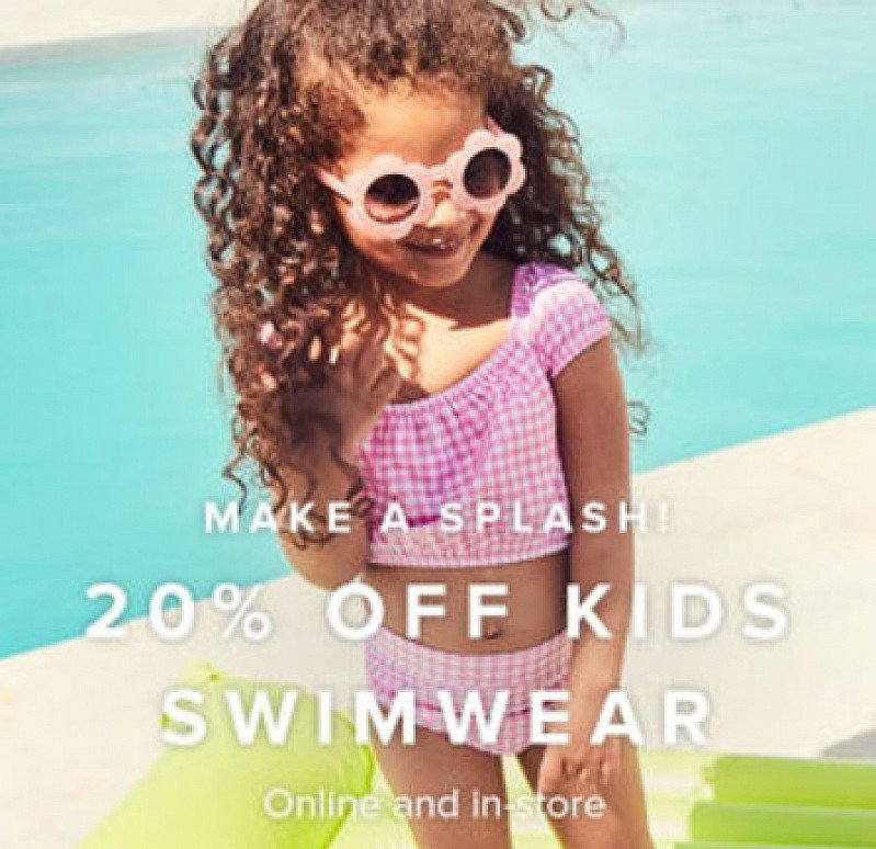 20% OFF Kids Swimwear - Online and In Store!