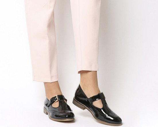Prepare for 'Back To School' - Office Fop T Bar Flats Black Patent Leather: £59.00!