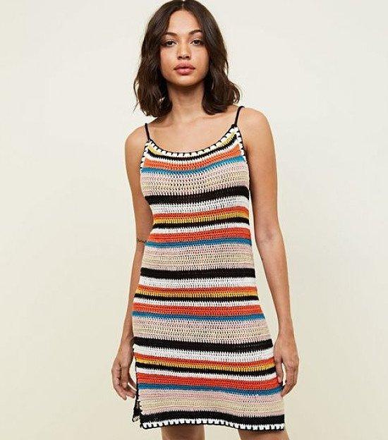 NEW IN - Multi Colour Stripe Crochet Slip Dress: £24.99!