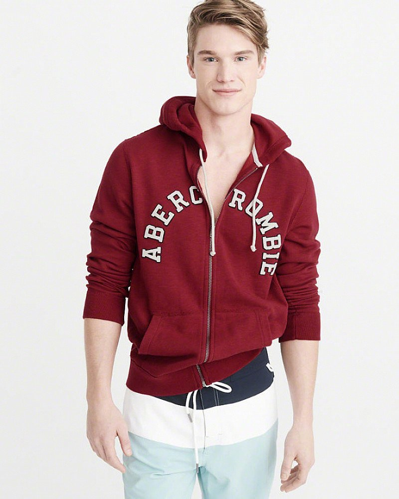 SAVE 60% OFF APPLIQUE LOGO FULL-ZIP HOODIE!