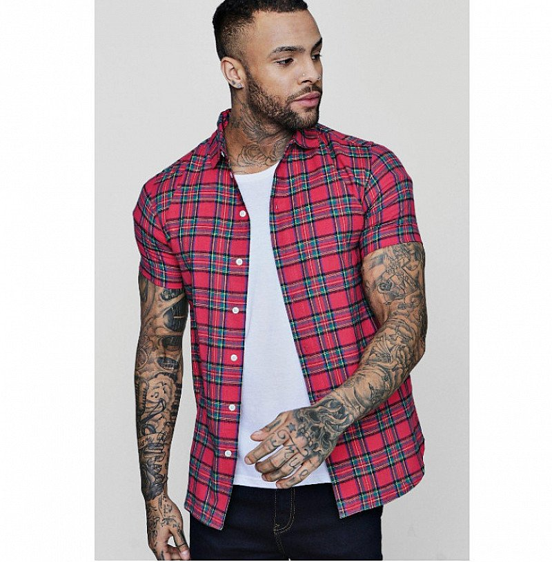 40% OFF This Pink Short Sleeve Check Shirt!