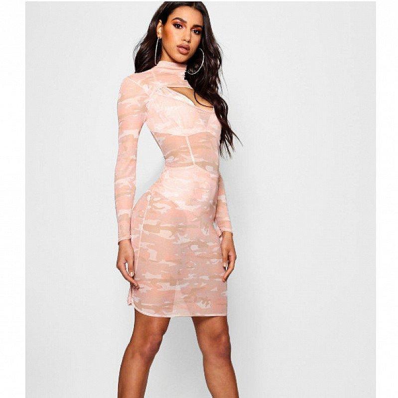 OVER 65% OFF this Camo Mesh Bodycon Dress!