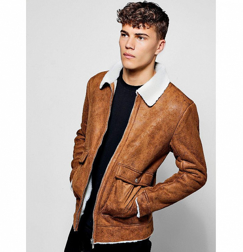 SAVE 20% on this Faux Suede Jacket With Borg Collar!
