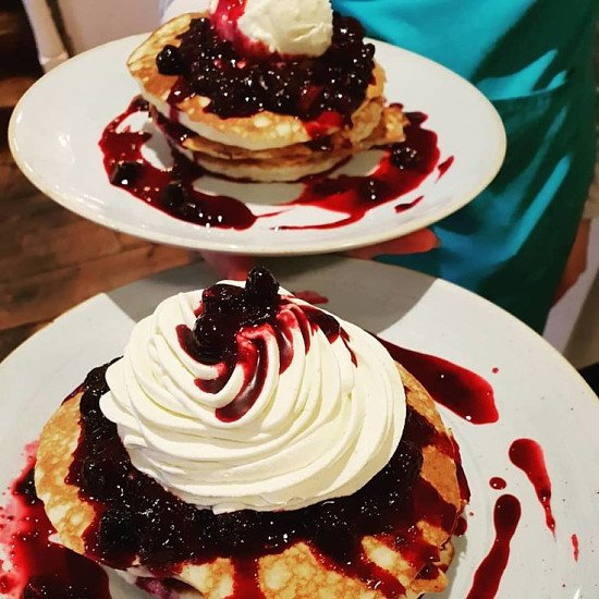 Pancakes for breakfast??  Blueberry, meringue and chantilly cream!