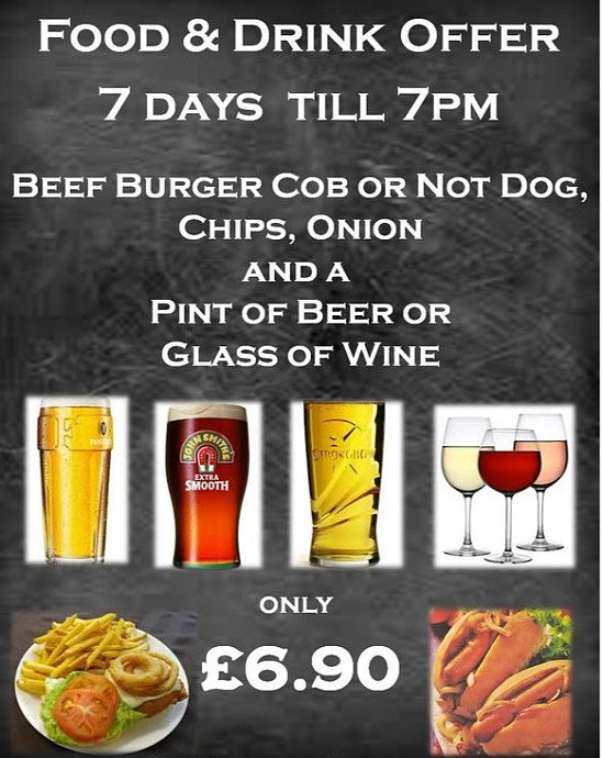 Food and drink offer before 7pm!