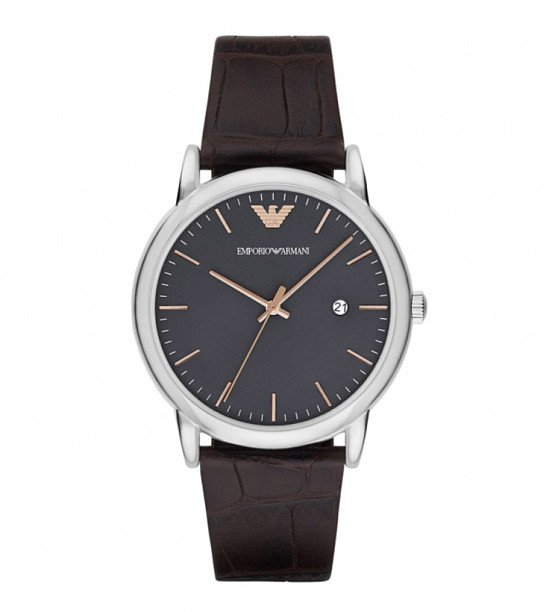 Emporio Armani Men's Grey Dial Brown Leather Strap Watch