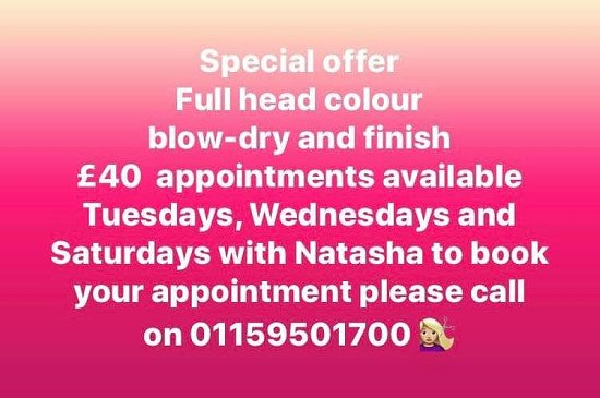 Special offer with our junior stylist Natasha
