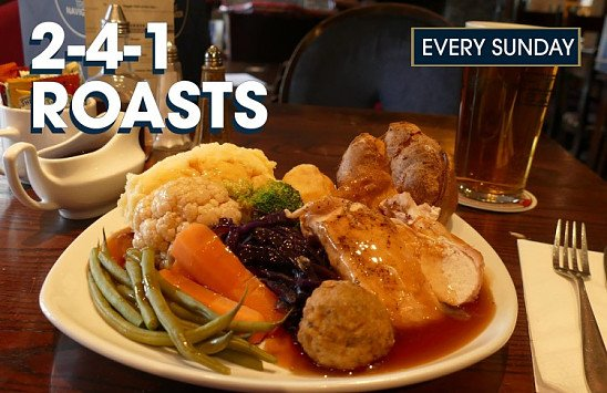 In the mood for a proper Sunday roast? 2-4-1 roast dinners, every Sunday until the end of October!