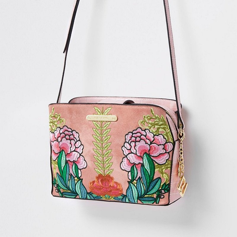 Accessories - Pink floral open top triple compartment bag: £34.00!
